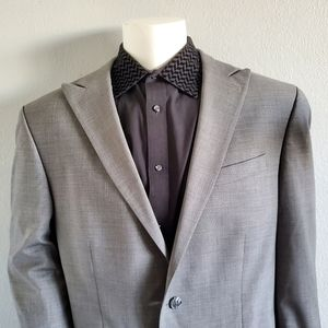 Kenneth Cole Grey Peak Lapel Modern Sport Coat 48L